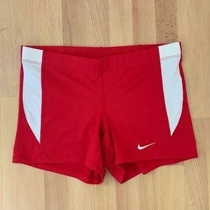 Nike bright red spandex racing shorts